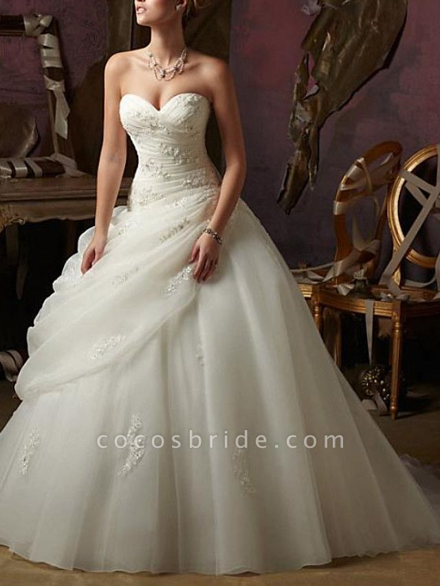 Ball Gown A-Line Wedding Dresses Strapless Sweep \ Brush Train Tulle Chiffon Over Satin Sleeveless Formal