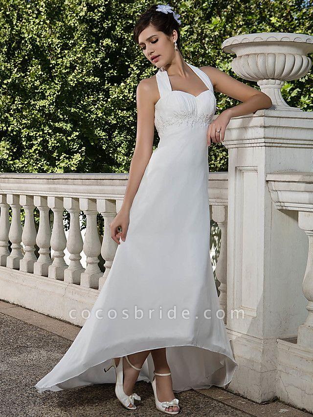 Sheath \ Column Wedding Dresses Halter Neck Sweetheart Neckline Asymmetrical Chiffon Sleeveless