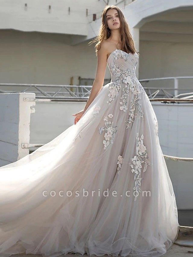 Ball Gown Strapless Court Train Lace Tulle Strapless Sexy Plus Size Wedding Dresses