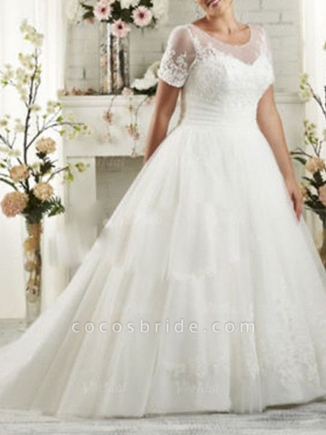 A-Line Wedding Dresses Scoop Neck Sweep \ Brush Train Lace Short Sleeve