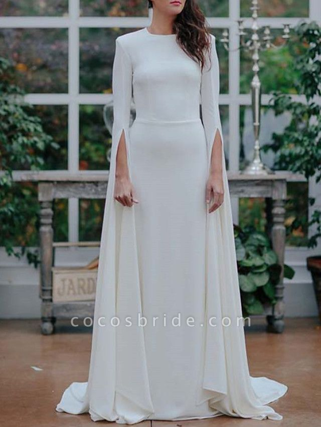 A-Line Wedding Dresses Jewel Neck Sweep \ Brush Train Satin Long Sleeve Formal Plus Size