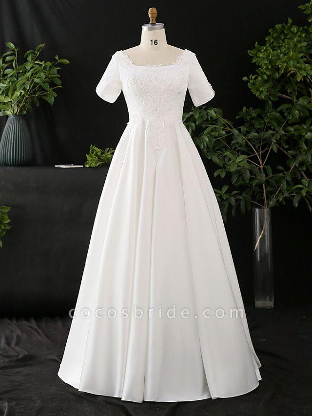 A-Line Wedding Dresses Scoop Neck Floor Length Satin Half Sleeve Formal Elegant