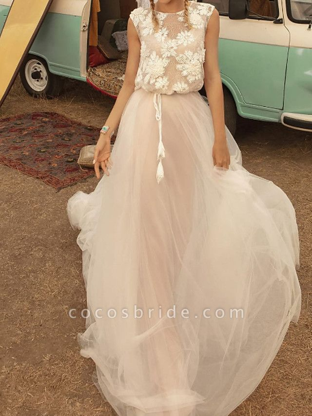 A-Line Wedding Dresses Jewel Neck Sweep \ Brush Train Tulle Polyester Short Sleeve Country Plus Size