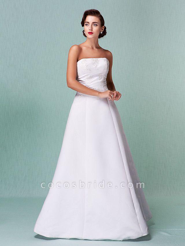 A-Line Wedding Dresses Strapless Floor Length Lace Over Satin Strapless Formal Simple Vintage Little White Dress Plus Size