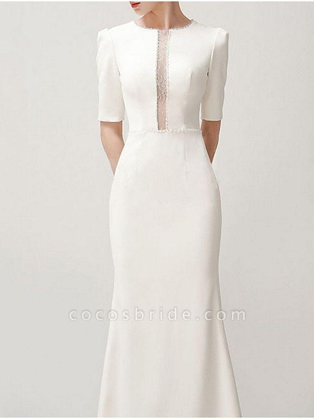 Mermaid \ Trumpet Wedding Dresses Jewel Neck Sweep \ Brush Train Satin Short Sleeve Formal Vintage Plus Size