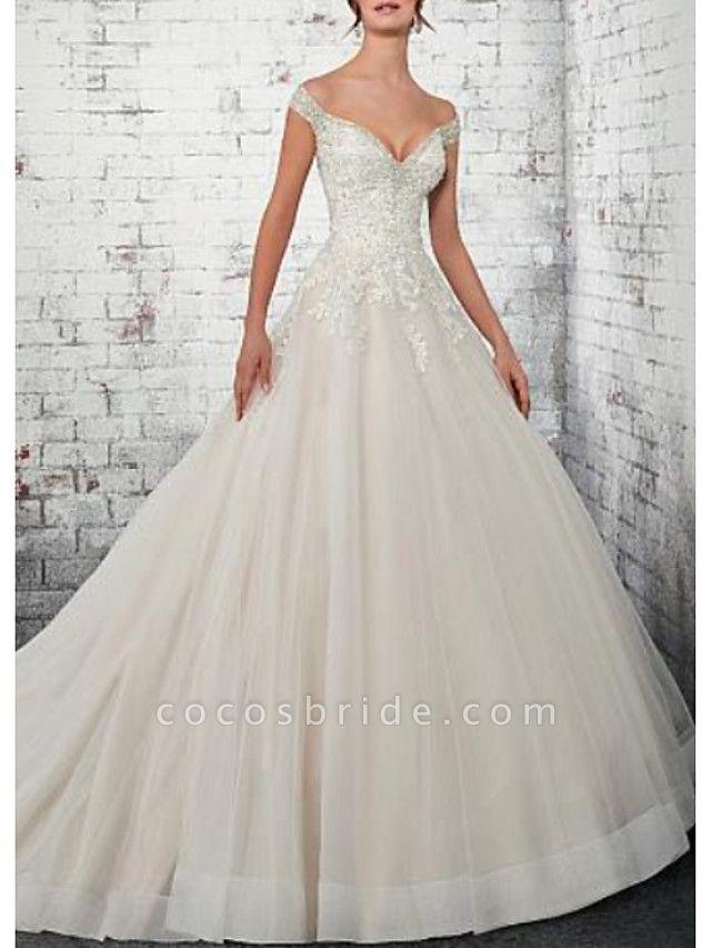 A-Line Wedding Dresses Off Shoulder Court Train Lace Tulle Cap Sleeve