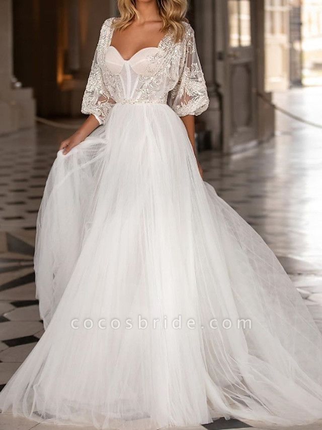 A-Line Wedding Dresses Scoop Neck Sweep \ Brush Train Polyester 3\4 Length Sleeve Country Plus Size