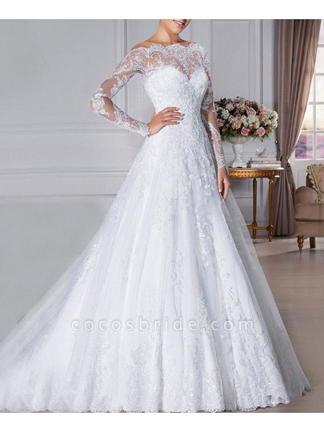 A-Line Wedding Dresses Off Shoulder Sweep \ Brush Train Lace Long Sleeve Formal Illusion Sleeve