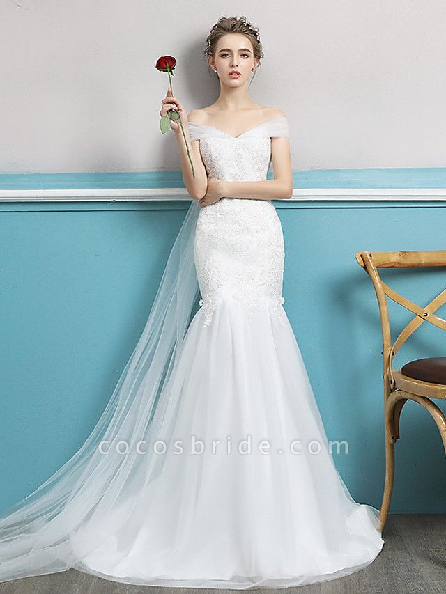 Mermaid \ Trumpet Wedding Dresses Off Shoulder Watteau Train Lace Tulle Polyester Short Sleeve Romantic Sexy