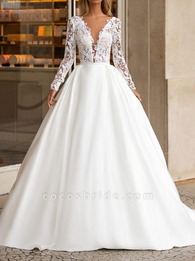 A-Line Wedding Dresses V Neck Floor Length Polyester Long Sleeve Formal Plus Size Illusion Sleeve
