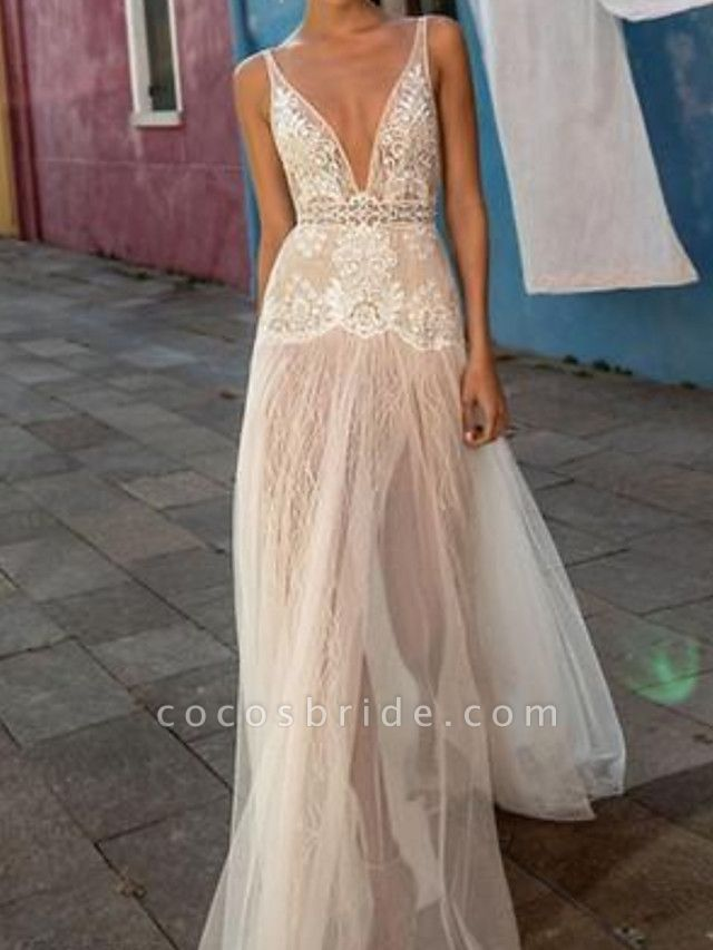 A-Line Plunging Neck Sweep \ Brush Train Polyester Sleeveless Country Plus Size Wedding Dresses