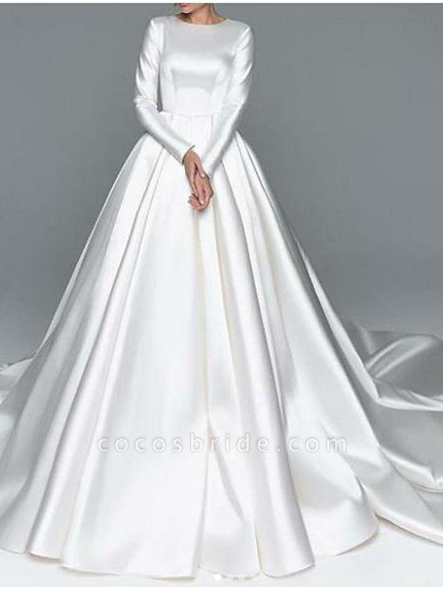 A-Line Wedding Dresses Jewel Neck Chapel Train Satin Long Sleeve Simple Plus Size Elegant