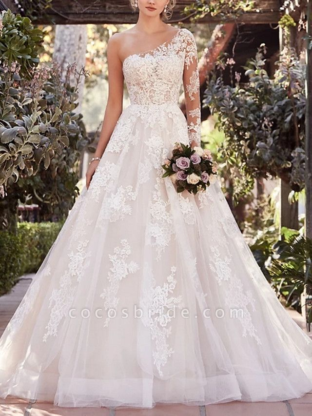 A-Line Wedding Dresses One Shoulder Court Train Lace Tulle Long Sleeve Illusion Sleeve