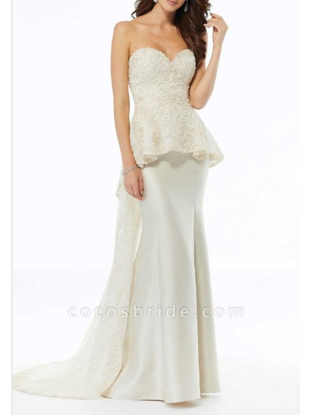 A-Line Wedding Dresses Strapless Sweep \ Brush Train Charmeuse Strapless Plus Size