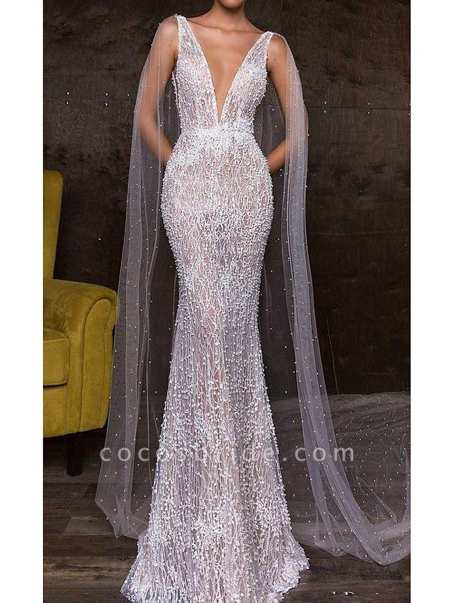 Mermaid \ Trumpet Plunging Neck Sweep \ Brush Train Polyester Sleeveless Sexy Plus Size Wedding Dresses