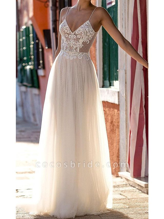 A-Line Wedding Dresses Spaghetti Strap Floor Length Polyester Sleeveless Country Plus Size