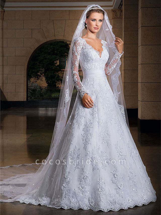 A-Line Wedding Dresses V Neck Court Train Lace Sequined Long Sleeve Formal Sexy Illusion Sleeve