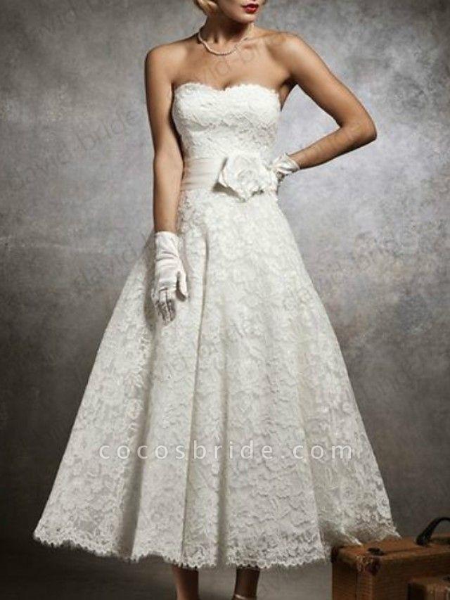 A-Line Wedding Dresses Strapless Tea Length Lace Sleeveless Formal Little White Dress