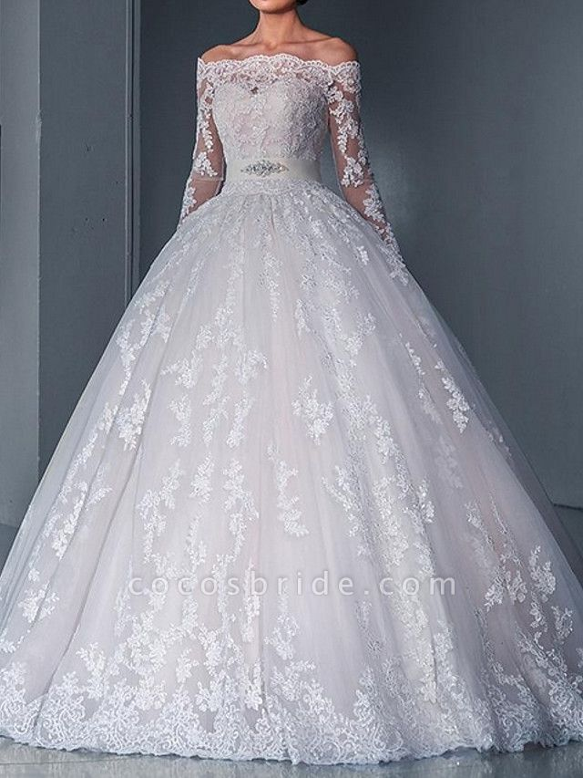 Ball Gown Wedding Dresses Off Shoulder Sweep \ Brush Train Lace Long Sleeve Glamorous See-Through Illusion Sleeve
