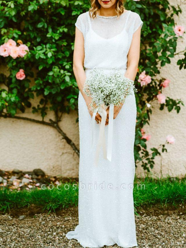 Sheath \ Column Wedding Dresses Jewel Neck Floor Length Tulle Sequined Half Sleeve Beach Sexy
