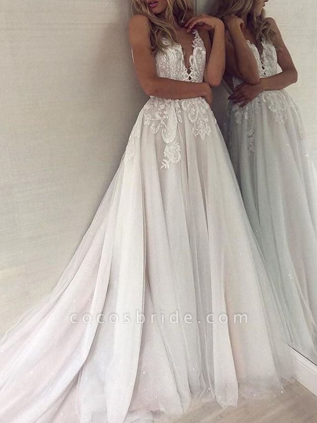 A-Line Wedding Dresses V Neck Court Train Polyester Spaghetti Strap Formal Boho Plus Size