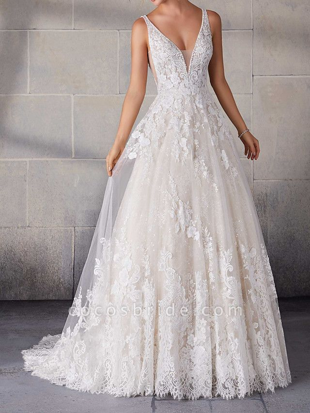 A-Line Wedding Dresses Spaghetti Strap Sweep \ Brush Train Lace Tulle Sleeveless Country Plus Size