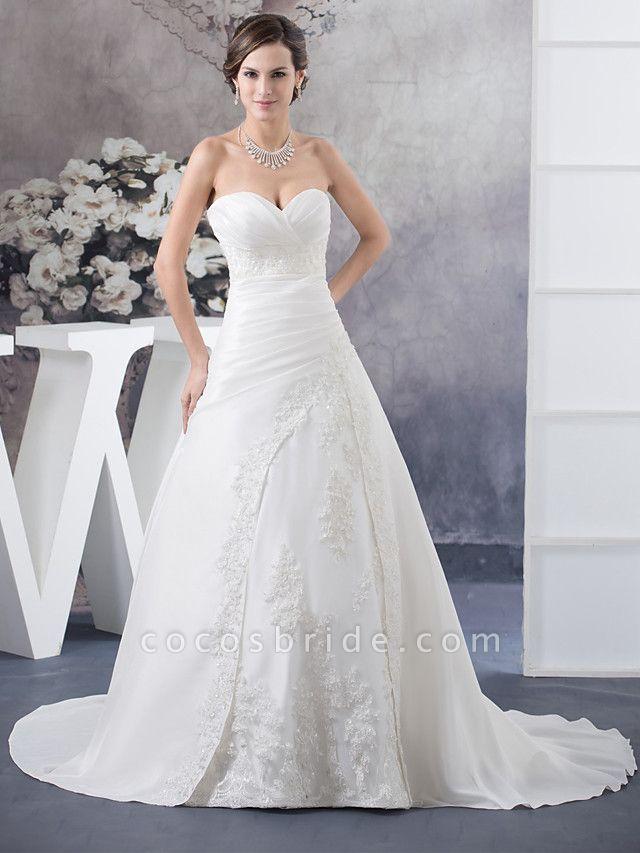 A-Line Sweetheart Neckline Court Train Satin Strapless Wedding Dresses