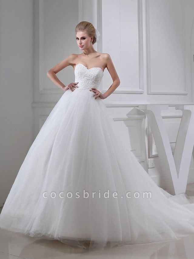 A-Line Sweetheart Neckline Chapel Train Lace Satin Tulle Strapless Wedding Dresses