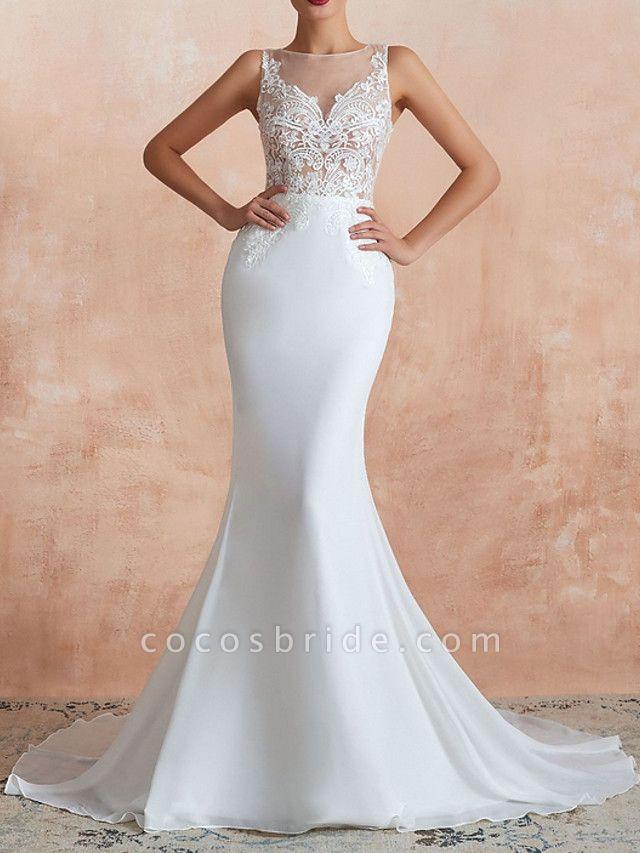 Mermaid \ Trumpet Wedding Dresses Jewel Neck Sweep \ Brush Train Lace Tulle Sleeveless Sexy Illusion Detail