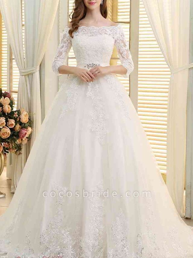 A-Line Off Shoulder Sweep \ Brush Train Lace Tulle 3\4 Length Sleeve Formal Wedding Dresses