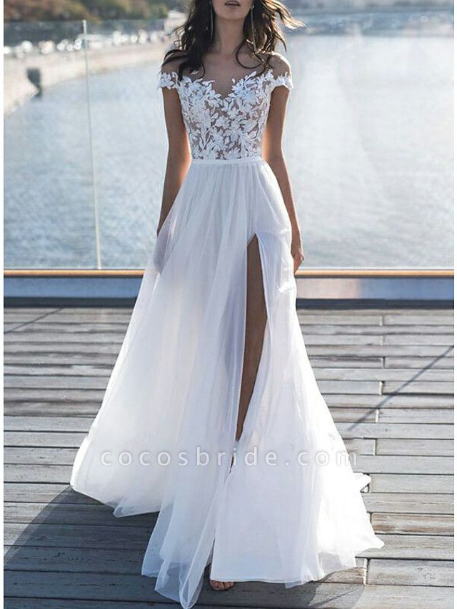 A-Line Wedding Dresses Off Shoulder Sweep \ Brush Train Lace Short Sleeve Beach Boho See-Through Illusion Detail