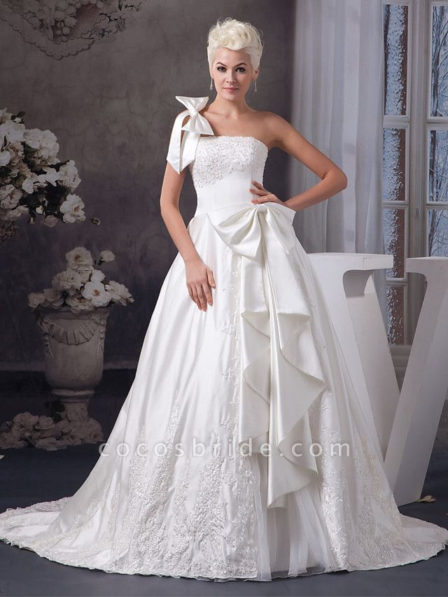 A-Line One Shoulder Court Train Lace Organza Satin Spaghetti Strap Wedding Dresses