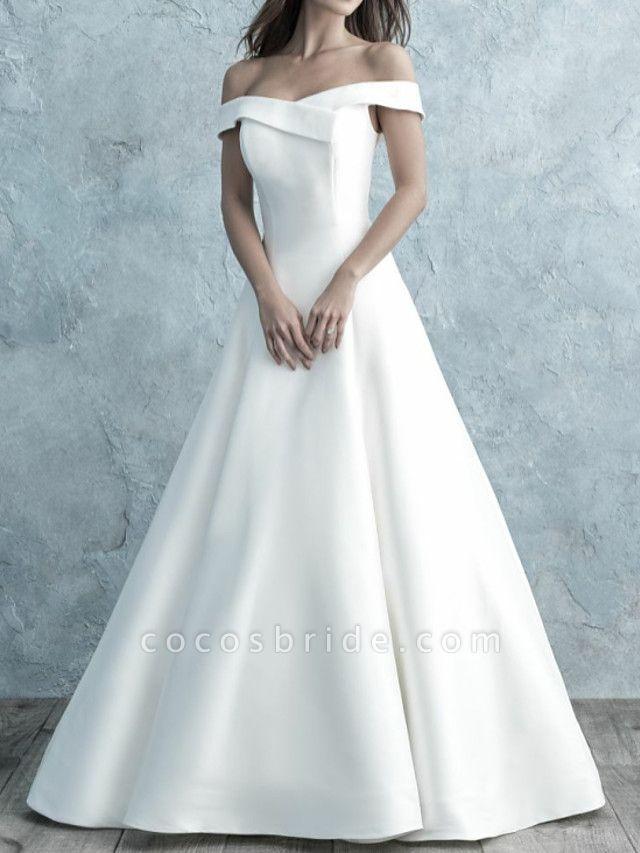 A-Line Wedding Dresses Off Shoulder Floor Length Satin Short Sleeve Simple Backless