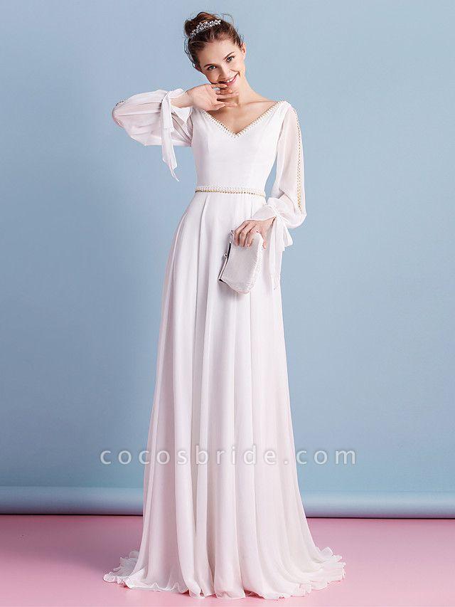 Sheath \ Column Wedding Dresses V Neck Court Train Chiffon Long Sleeve