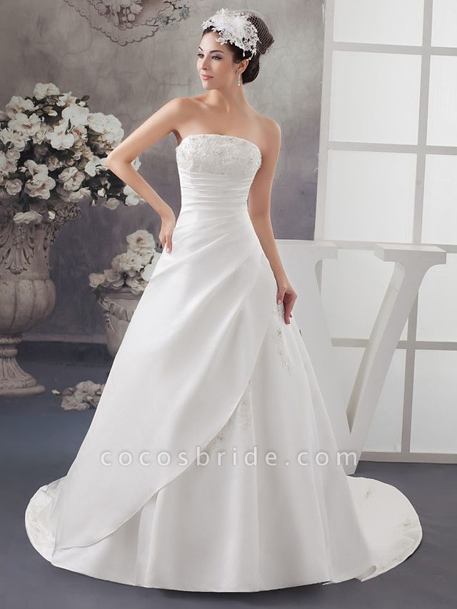 A-Line Strapless Chapel Train Lace Satin Strapless Wedding Dresses