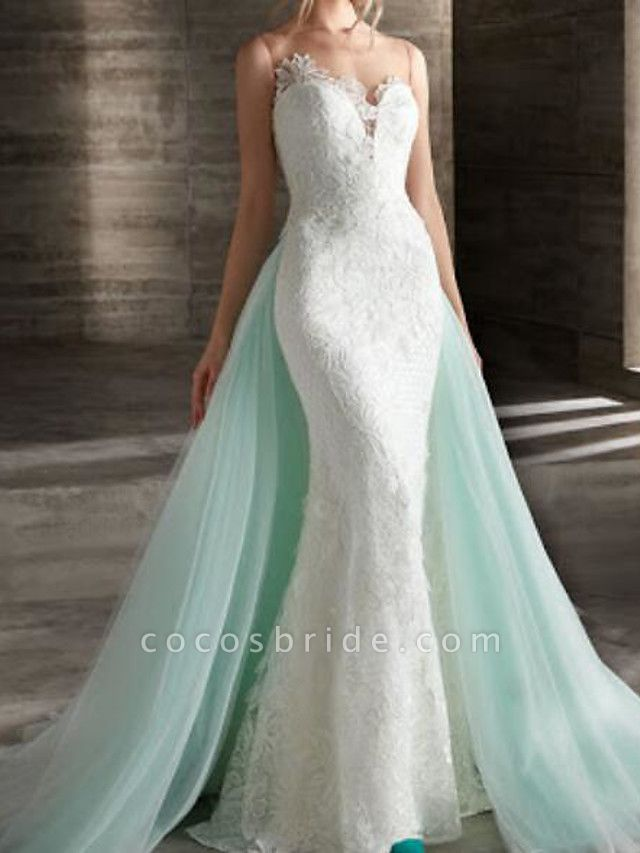 Mermaid \ Trumpet Wedding Dresses Strapless Sweep \ Brush Train Lace Strapless Country Plus Size