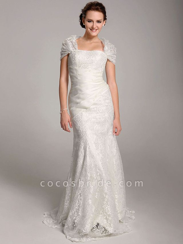 Mermaid \ Trumpet Wedding Dresses Straps Floor Length Lace Short Sleeve See-Through