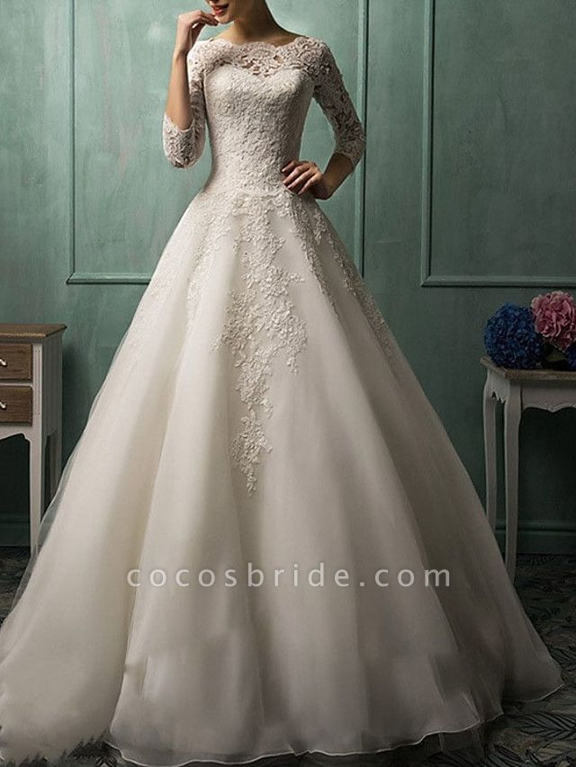 A-Line Wedding Dresses Bateau Neck Court Train Lace 3\4 Length Sleeve Illusion Sleeve