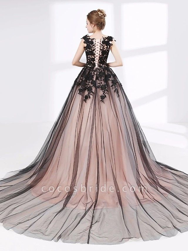 Ball Gown Wedding Dresses V Neck Court Train Lace Tulle Cap Sleeve Sexy Plus Size Black Modern