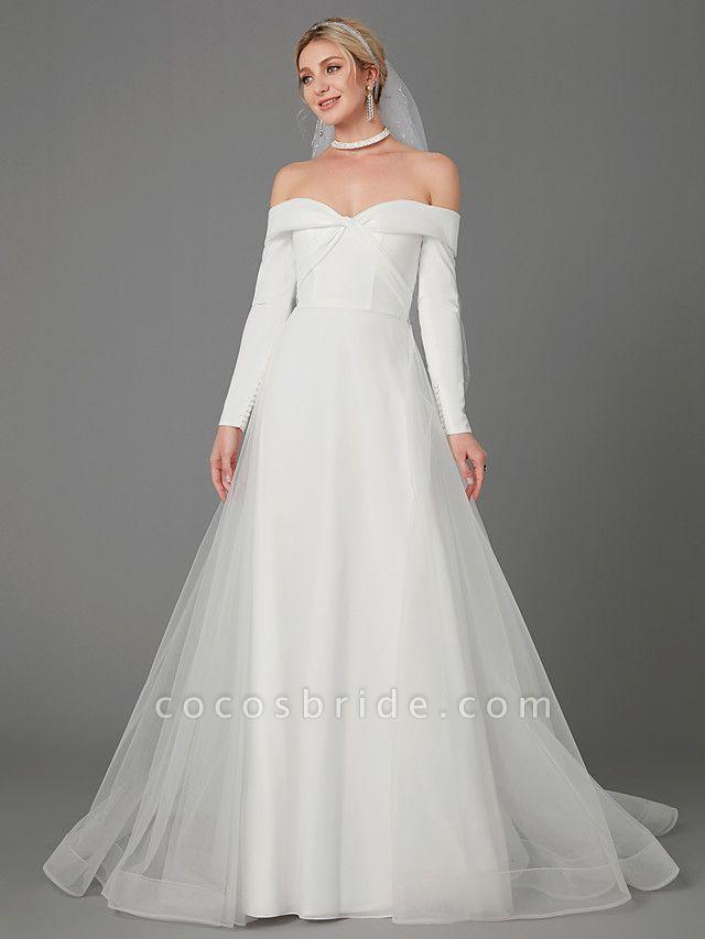 A-Line Wedding Dresses Off Shoulder Chapel Train Chiffon Tulle Long Sleeve Sexy