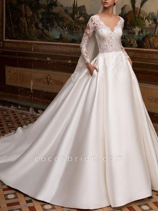 A-Line Wedding Dresses V Neck Court Train Lace Satin Long Sleeve Country Backless Illusion Sleeve
