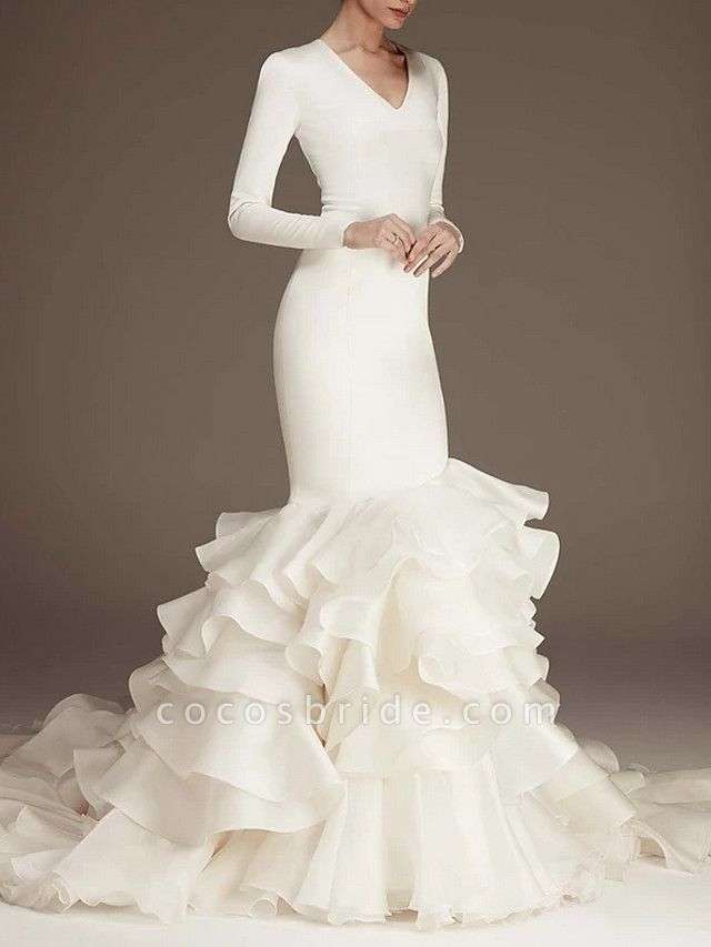 Mermaid \ Trumpet Wedding Dresses V Neck Sweep \ Brush Train Satin Long Sleeve Plus Size Modern Elegant