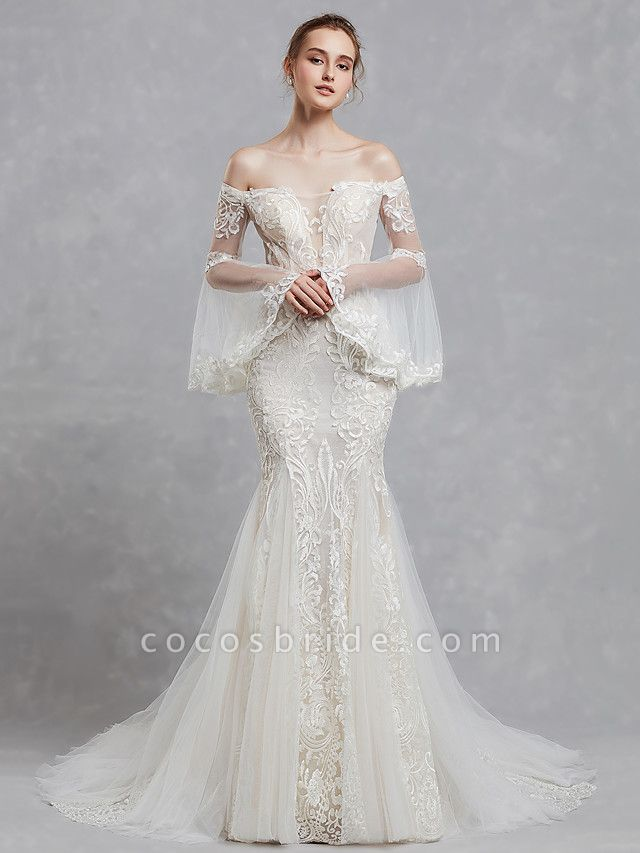 Mermaid \ Trumpet Off Shoulder Court Train Lace Tulle Long Sleeve Romantic Boho See-Through Backless Illusion Sleeve Wedding Dresses
