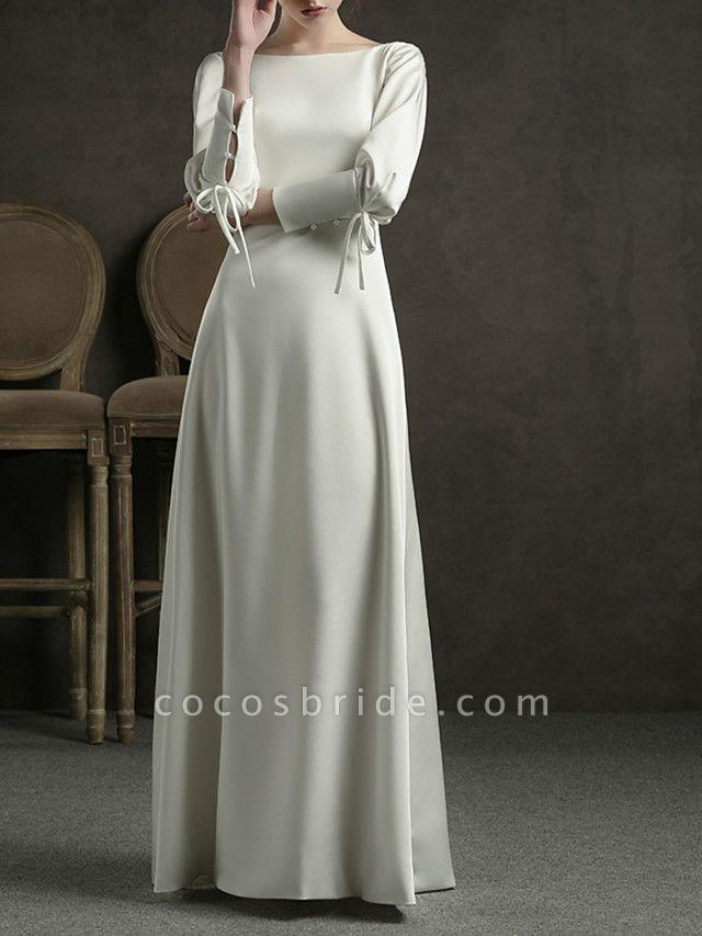 Sheath \ Column Wedding Dresses Jewel Neck Floor Length Satin Long Sleeve Simple Elegant