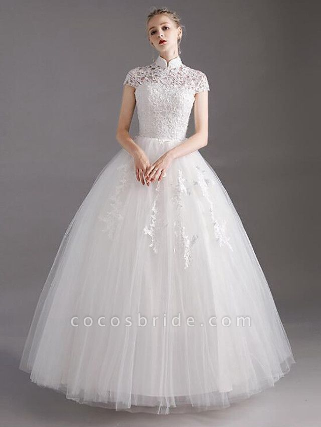Ball Gown Wedding Dresses High Neck Floor Length Lace Tulle Polyester Short Sleeve Glamorous See-Through Illusion Detail