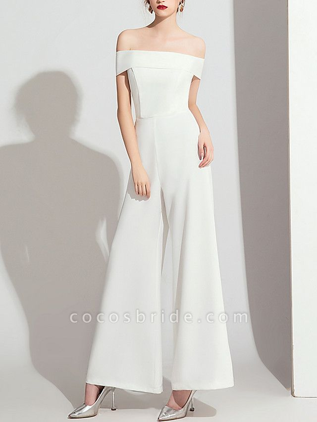 Jumpsuits Wedding Dresses Off Shoulder Floor Length Polyester Cap Sleeve Formal Simple