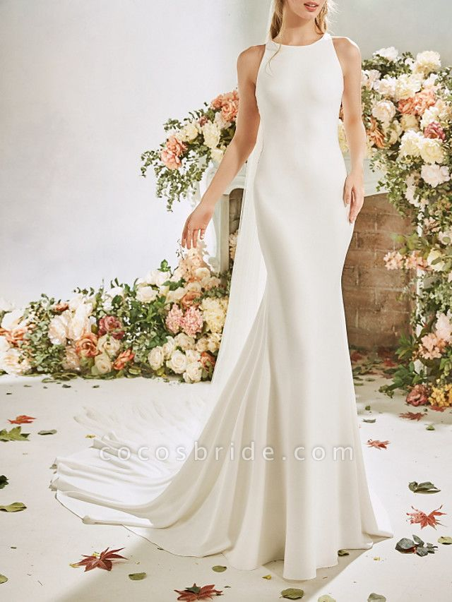 Mermaid \ Trumpet Wedding Dresses Jewel Neck Court Train Stretch Satin Sleeveless Vintage Sexy Wedding Dress in Color See-Through Backless
