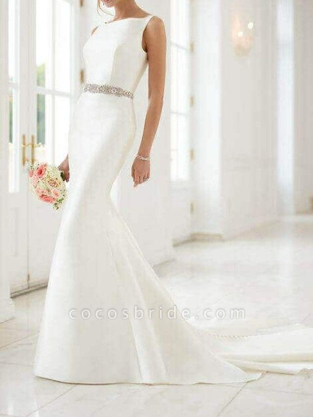 Mermaid \ Trumpet Wedding Dresses Jewel Neck Sweep \ Brush Train Satin Regular Straps Simple Elegant