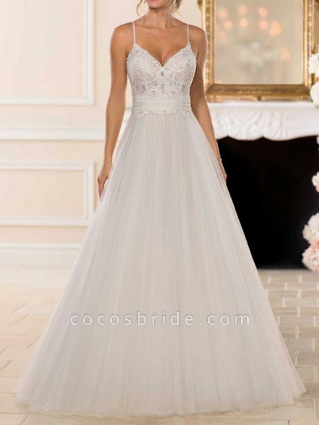 A-Line Wedding Dresses V Neck Sweep \ Brush Train Lace Tulle Spaghetti Strap Romantic Backless