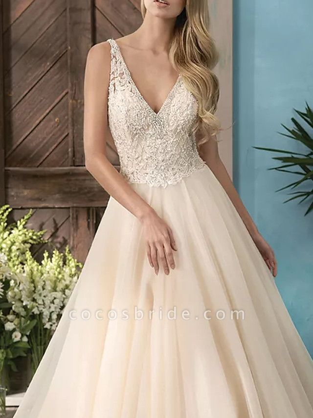 A-Line V Neck Sweep \ Brush Train Lace Tulle Sleeveless Casual Plus Size Wedding Dresses